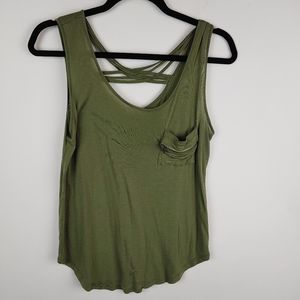Tank top zipper accent pocket strappy back,